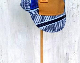 Light Blue Circle Spoke Print Batik Handmade Cycling Cap, Summer Hat