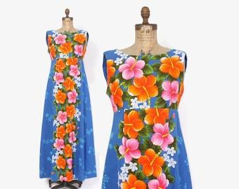 Vintage 60s HAWAIIAN DRESS / 1960s Bright Tropical Cotton Full Length Sun Dress M