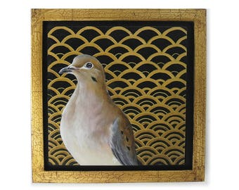 Mourning Dove in black and gold pattern - morning dove art - realistic dove painting - fancy gold glam painting - modern 1920s style pattern