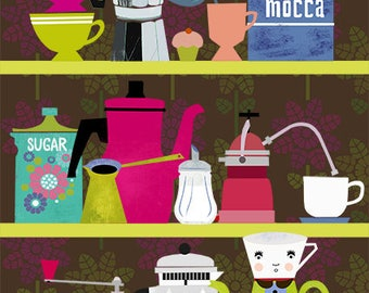 New! Coffee Lovers Shelf-limited edition art print