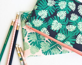 School Supplies, Monstera Leaf Zipper Pouch, Pencil Case Pencil Pouch, Gardening Gift, Monstera Deliciosa Leaf Print Green College Kids