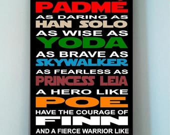 ON SALE Beautiful STAR Wars wooden subway art sign -In this Classroom we are as strong as a wookie as noble as padme as brave as han solo...