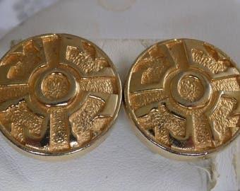 Vintage earrings, Grecian Key Etruscan style retro golden clip-on earrings, statement jewelry