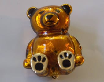 Vintage brooch, Signed Monet brown black enamel teddy bear brooch,jewelry