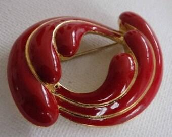 Vintage brooch,lipstick red enamel double wings brooch,retro jewelry