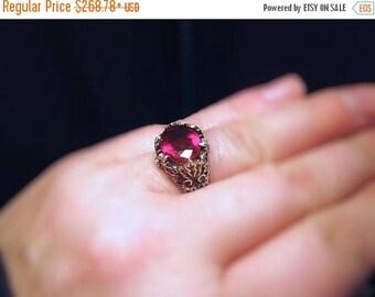 Summer time Sale Event Deep Red Rhodolite Garnet Leaf Patterned Ring diamond accents Heavy Sterling Silver Unisex Handmade Custom Size 4 5 6