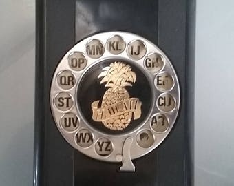 Flip Phone Directory with Hawaii on the Dial, Pineapple, Vintage Phone Directory, Address Book, Telephone Dial, Dial a Name, Hong Kong