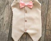Gentlemen wear pink, tan formal vest best man groomsman custom elegant fancy wedding dog vest brides dog very large dog small dog designer