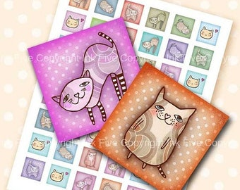 Cats 1x1 inch digital squares. Printable images. Mod Collage Sheet for magnets, cards, tile pendants, embellishments, scrapbook. Download