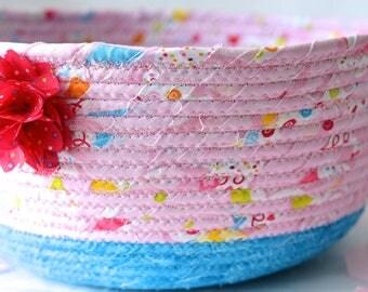 Pink Gift Basket, Handmade Pink Bowl, Pink Floral Bath Basket, Makeup Organizer, Girls Room Decor, Pink coiled fabric basket