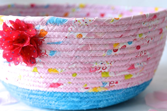 Pink Gift Basket, Handmade Pink Bowl, Pink Floral Bath Basket, Makeup Organizer, Girls Room Decor, Pink coiled fabric basket