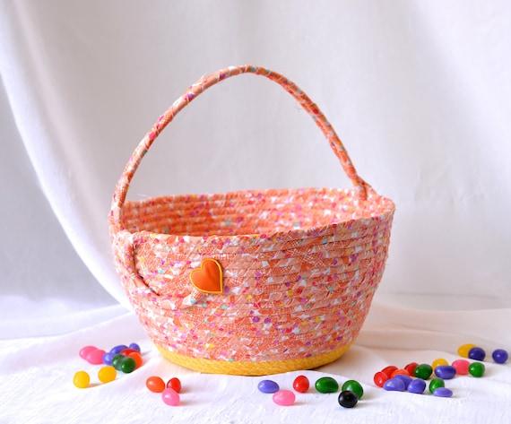 Boy Easter Basket, Handmade Orange Easter Bucket, Boy Storage Organizer, Easter Decoration, Baby Boy First Easter Egg Hunt, Artisan Quilted