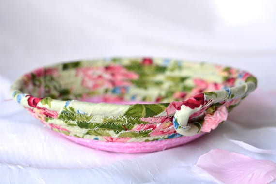 Shabby Chic Easter Basket, Green and Pink Ring Tray, Handmade Pink Makeup Organizer, Cute Itty Bitty Basket, Gift Basket