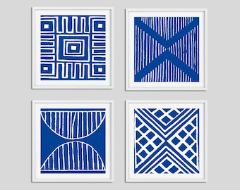 Blue and White Wall Art Prints, Set of 4 Nautical Art, Dining Room Wall Art, Bedroom Wall Art Set, Living Room Square Art, Coastal Artwork