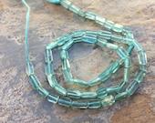 Apatite Rectangle Beads, Aqua Apatite Beads, Gemstone Beads, 6mm approx, 13 inch strand.