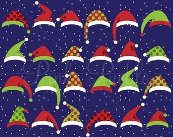 BACK TO SCHOOL Sale Santa Hat Clipart Clip Art, Christmas Clipart, Christmas Clip Art, Santa Hats Clipart Clip Art - Commercial Use