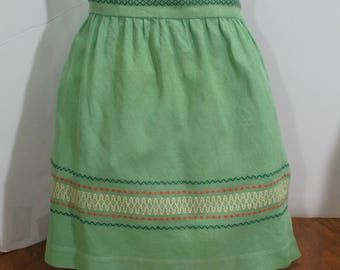 Vintage Green Embroidered Half Apron