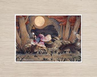 Running With Monsters / Kitsune Fox Yokai / Japanese Asian Style / 5x7 Fine Art Matte Print