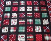 Christmas Lap Quilt, Holiday Cabin in the Woods, Rustic Winter Quilt, Hand Quilted