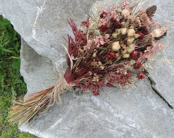Dried Flower Bouquet Floral Arrangement Roses Strawflowers Fern Fronds Hand Dyed Wildflowers Meadow Grasses