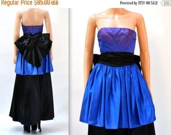 SALE Vintage 80s Prom Dress Size Small Blue and Black// Vintage 80s Evening Gown Party Dress Size XS Small by Gunne Sax