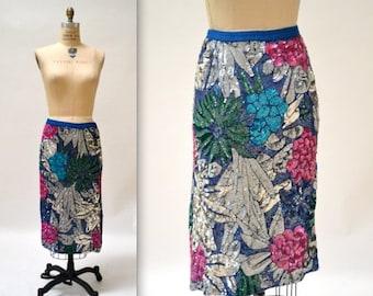SALE Vintage Metallic Sequin Skirt Size Large with Flowers// Vintage Silver Metallic Sequin Skirt Large