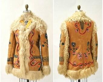 SALE Vintage Embroidered Shearling Afghan Jacket Coat Medium//  70s Shearling Coat Embroidered Sheepskin Fur Boho Afghan Jacket Penny Lane Y