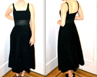50% OFF SALE Vintage Black Leather Skirt Size Large Long Midi Full Skirt// 90s Black Long Maxi Midi Suede Leather Skirt SIze Large