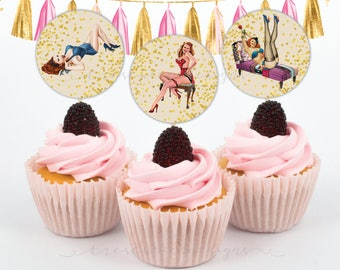 Bachelorette Cupcake Toppers - Pin Up Girl - Lingerie Shower -  2inches - Instant Download
