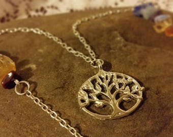 Stone and Tree of Life Necklace