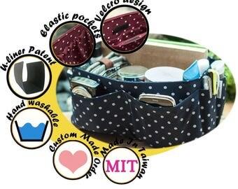 Purse Organizer Great Handmade Gift / Extra Sturdy / Blue Polka Dots / Large 25x10cm