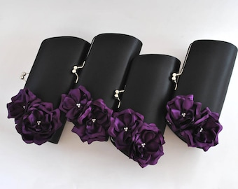 Black and Deep Purple - Wedding clutch - Custom clutch - Bridal_Bridesmaids_Mother of the Bride_ Prom
