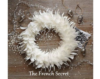 White Feather Wreath Shabby Chic Wreath Home Decor Cottage Home Door Decoration Centerpiece Mantel Topper