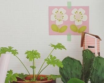 Briefkaart roze met vintage bloem, floral postcard