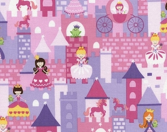 SALE 10% Off - Mini Fairy Tale in Pink - Kidz Gail C2472 - Timeless Treasures Fabrics - By the Yard