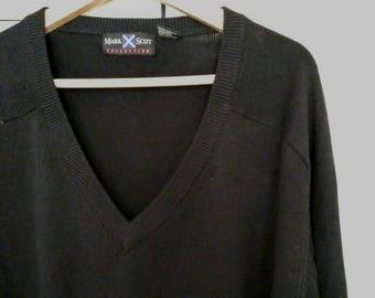 Mens Vneck Sweater, Vintage Sweater, Men's XXL Mark Scot v neck Sweater, Mens Black Sweater, 100% All Cotton Knit Mens Sweater