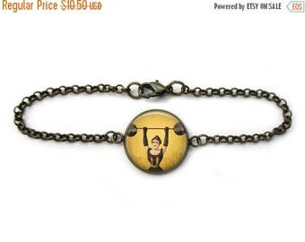 ON SALE Strongwoman Bracelet Circus Freak Jewelry Sideshow Weightlifter Chain Link Bracelet in Bronze or Silver