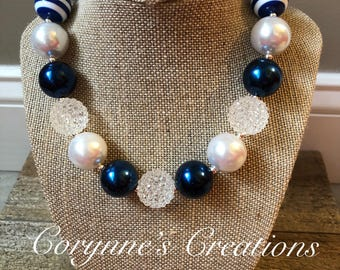 Chunky Bubblegum Bead Necklace with Navy Blue and White Beads