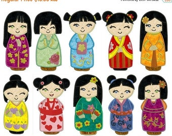 ON SALE CHINA Dolls - Machine Applique Embroidery - Instant Digital Download