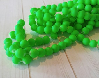 Neon Green Beads 8mm Glass Beads 8mm Beads Rubberized Glass Beads BULK Beads Wholesale Beads DOUBLE STRAND 105pcs