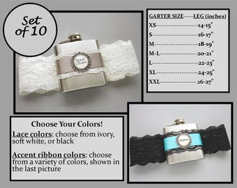 Ten (10) Personalized Flask Garters: Bridesmaids Gift Set - Lace Garter with Flask - Flasks for Wedding, Bachelorette Party, Bridesmaids