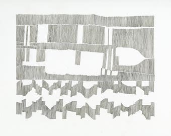 Chart 2 - ORIGINAL ARTWORK / abstract contemporary art / cartography / music score / composition