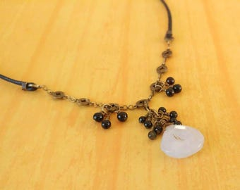 Blue Lace Agate Faceted Gemstones on Gold-Plated Brass Chain and Black Waxed Cotton Cord with Black Agate Accents