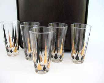 MId Century Glass Tumbler Set of 5 Tall Gold Black Diamond Arrow Golden Peaks Cocktail Glasses Barware Atomic 12 oz Weighted Bottom