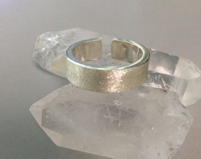 Sterling Silver Ring, Wide Band, Wedding Band, Brushed Band, Adjustable Ring - Size 7.5