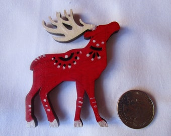 Red and Pearlescent reindeer, hand painted laser-cut wood