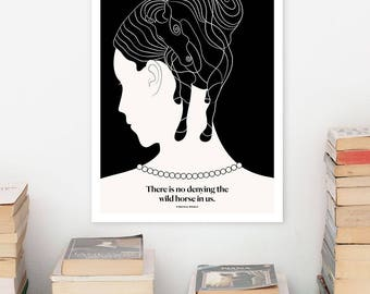 VIRGINIA WOOLF, Literary Art Print, Quote Minimalist Poster, Large Wall Art Print Illustration,  Literary Gift for Her, Book Lover Gift