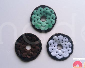 chocolate chip trio donut brooch set, felt food pin