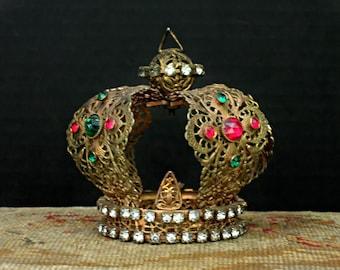 Large Vintage Infant of Prague Gold Crown / Rhinestone and Gold Large Infant of Prague Tiara