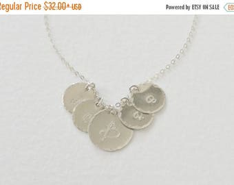 SALE - Large 1 2 3 4 5 6 Initial Discs, Personalized Jewelry, Monogram Necklace, Smooth or Hammered Edge, Mother Family Jewelry, Initial Nec